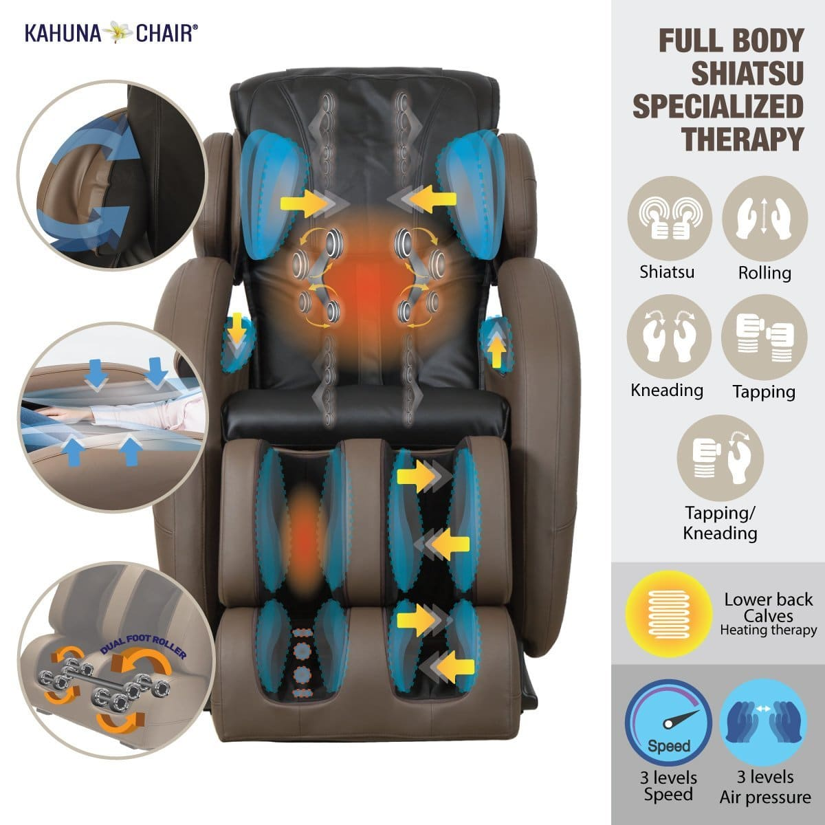 Space-Saving Zero-Gravity Full-Body kahuna LM6800 massage chair For Sale