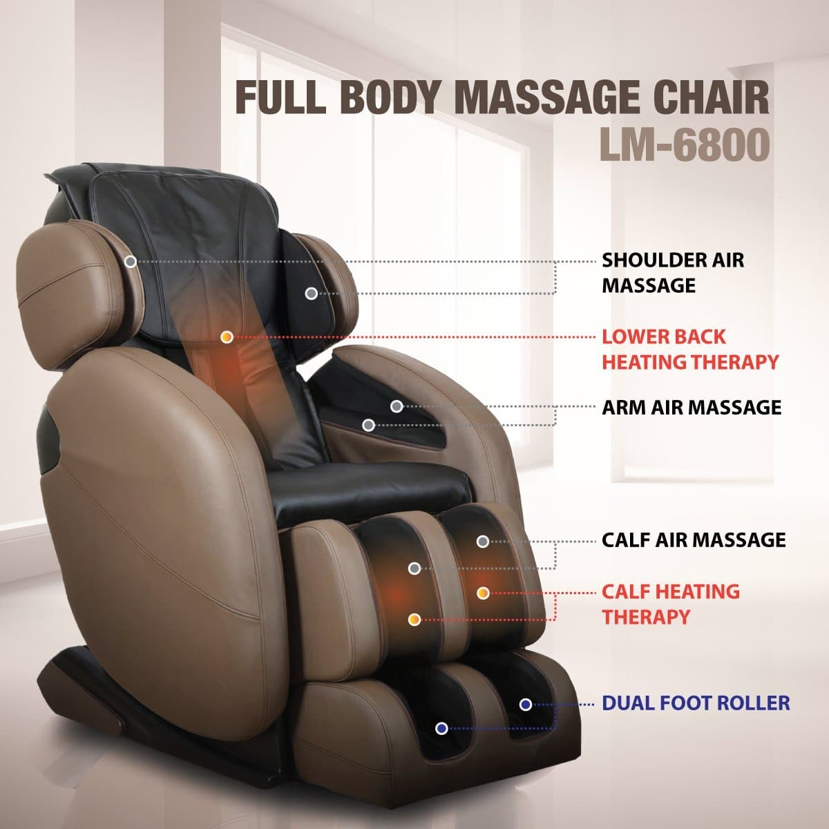 Space-Saving Zero-Gravity Full-Body kahuna LM6800 massage chair Shiatsu